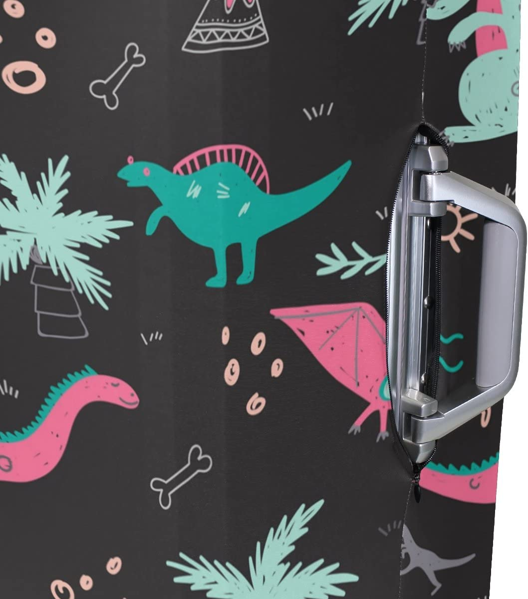 OREZI Luggage Protector Colorful Dinosaurs Travel Luggage Elastic Cover Suitcase Washable and Durable Anti-Scratch Stretchy Case Cover Fits 18-32 Inches