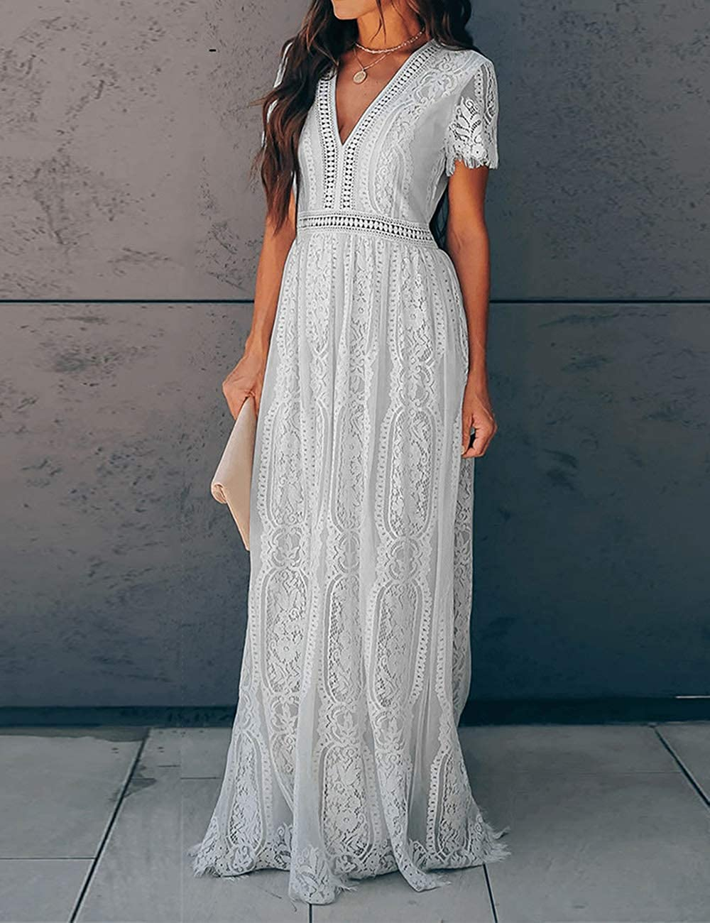 Cottagecore Dresses Aesthetic, Granny, Vintage Ecosunny Womens Deep V Neck Short Sleeve Floral Lace Bridesmaid Maxi Dress Party Gown $44.99 AT vintagedancer.com