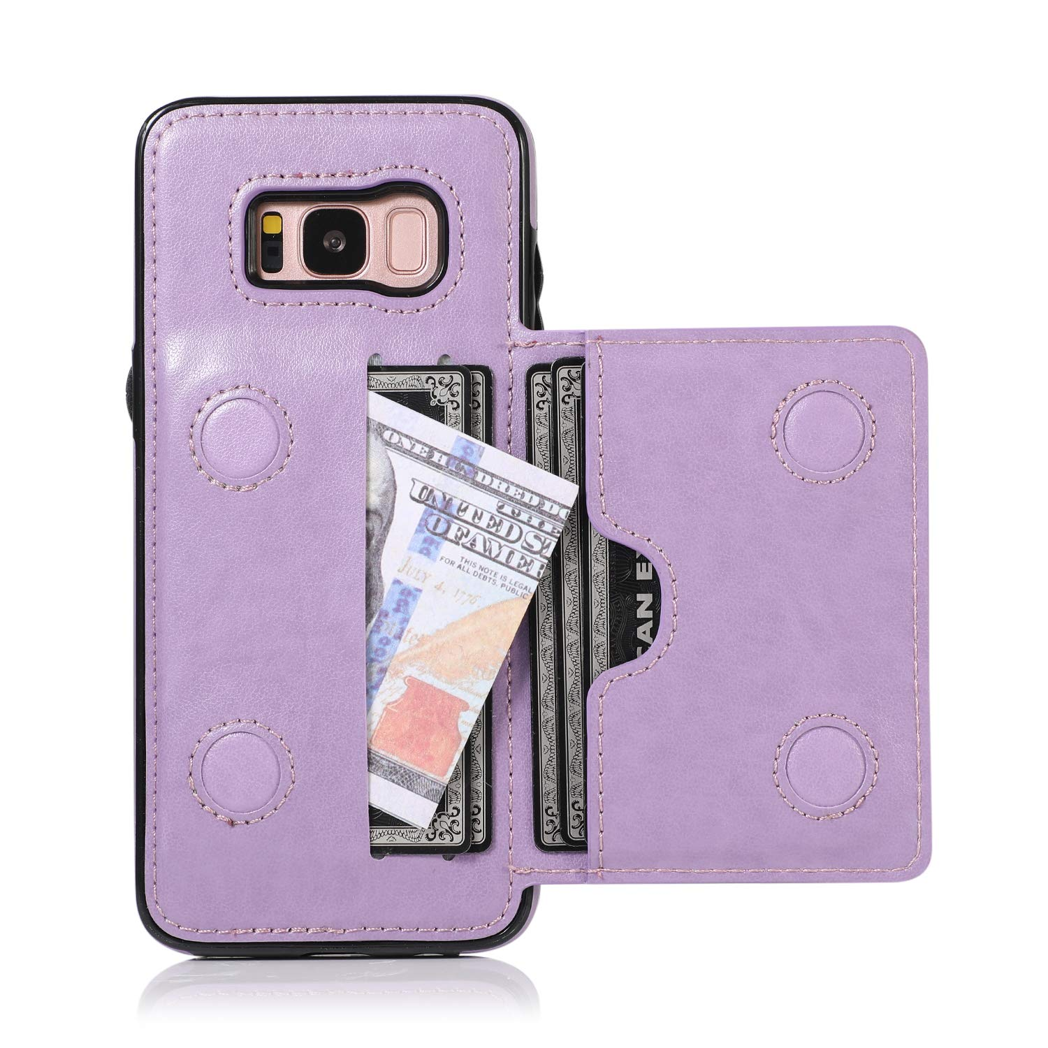 Galaxy S8 Case, Ranyi Slim Flip Wallet Case with Credit Card Holder Slots Premium PU Leather Magnetic Clasp Flip Folio Wallet Protective Case Cover for Samsung Galaxy S8 5.8 Inch (2017), Purple by Ranyi