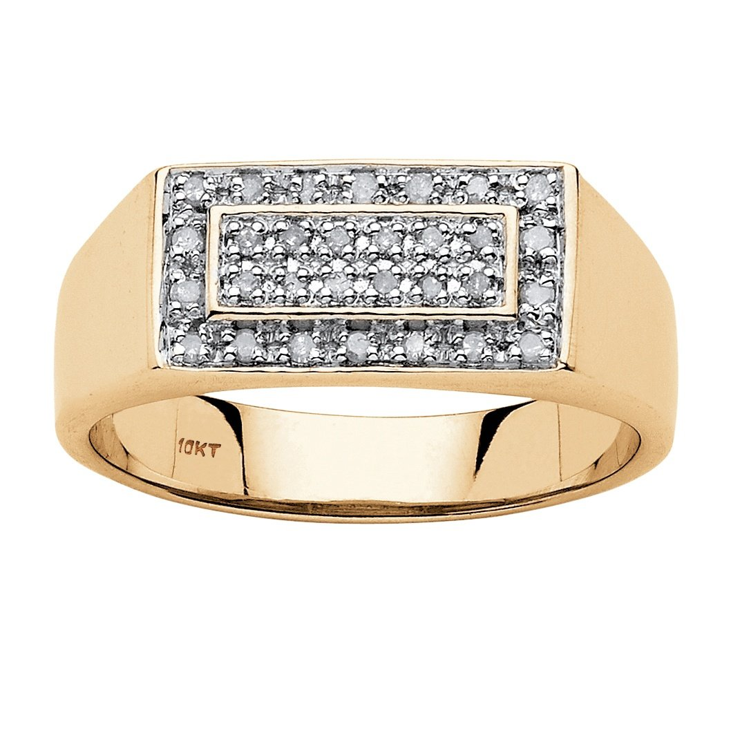 Men's White Diamond 10k Yellow Gold Classic Grid Ring (.20 cttw, HI Color, I3 Clarity)