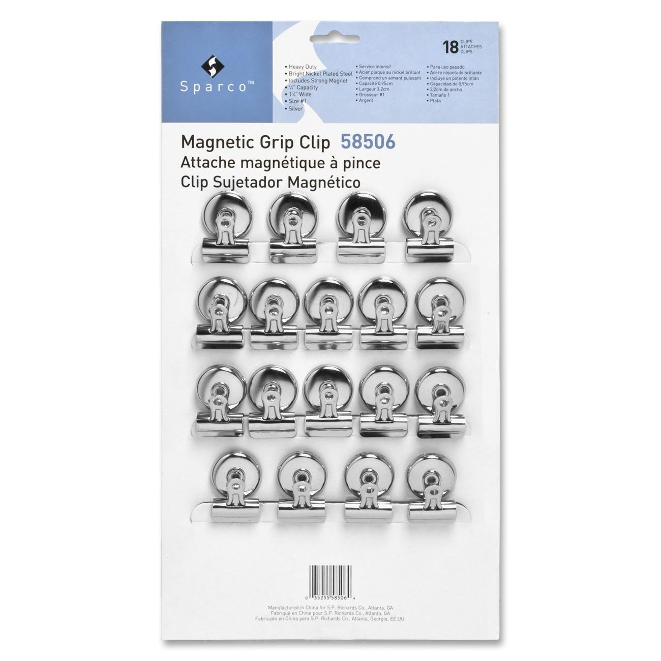 Sparco Bulldog Clip, Magnetic Back, Size 1, 1-1/4 X 3/8 Inches Cap, 18/Box, Silver (SPR58506)