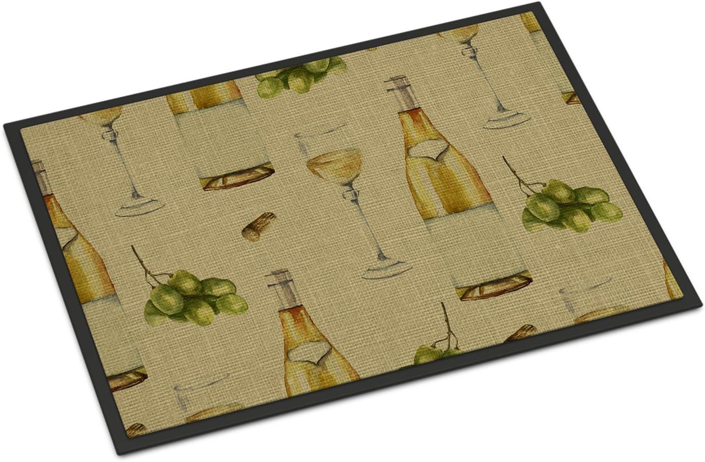 Caroline s Treasures BB5194JMAT White Wine on Linen Indoor or Outdoor Mat 24×36, 24H X 36W, Multicolor
