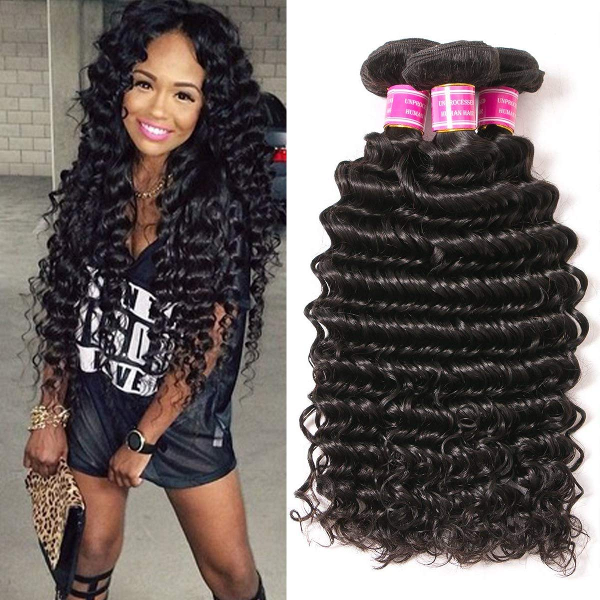 VRBest Brazilian Deep Wave 3 Bundles 100% Unprocessed Virgin Brazilian Hair Bundles Deep Curly Human Hair Extensions Natural Color 100g/Bundle (12 14 16) by VRBest