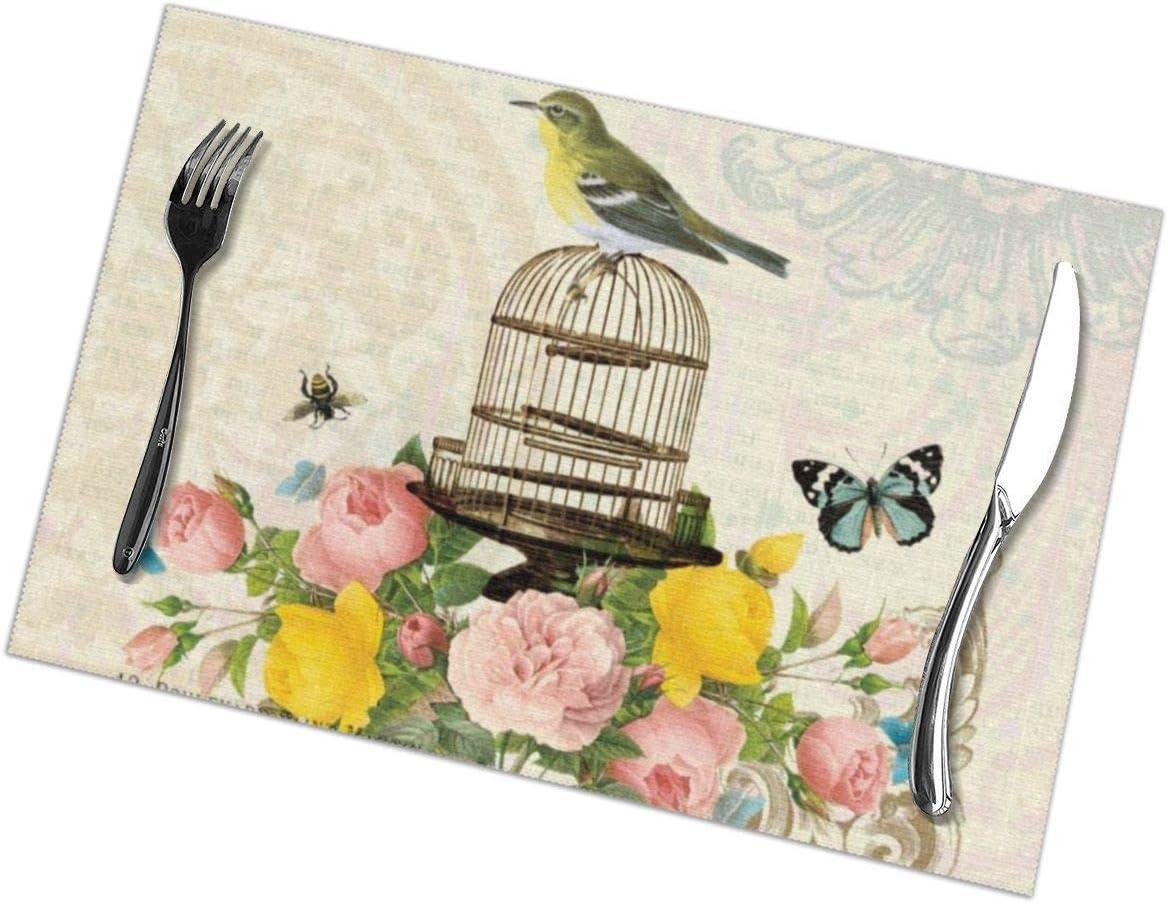 GuyIvan Juego de 6 manteles Individuales franceses Vintage para pájaros y jaulas, manteles Individuales para Mesa de Comedor Resistentes al Calor, 30 x 45 cm