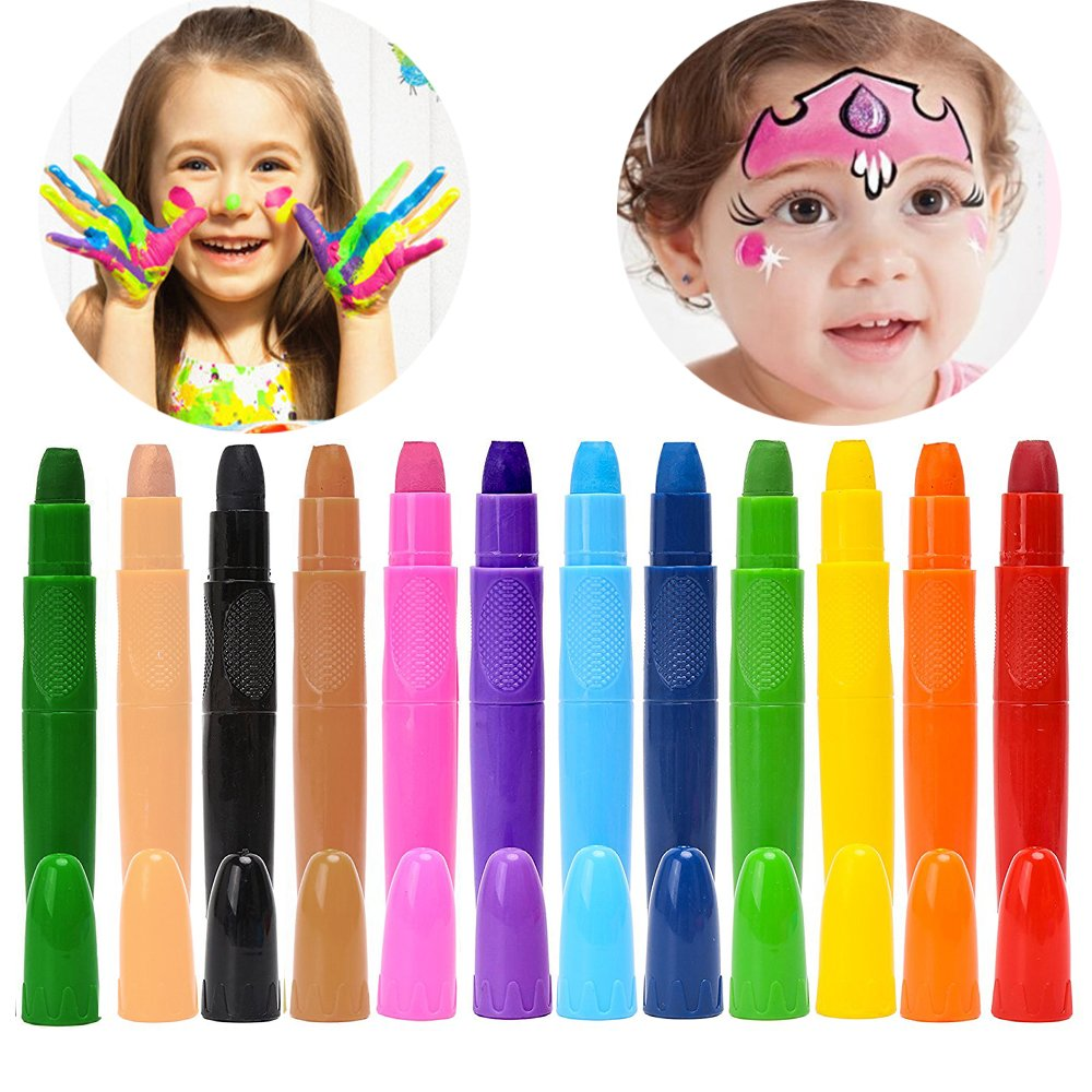 12 Colors Face Paint Crayons for Kids, Face & Body Paint Sticks, Halloween and Party Makeup, Non-Toxic Washable Face Painting, Water Based Twist up Face Painting Crayons VVLife