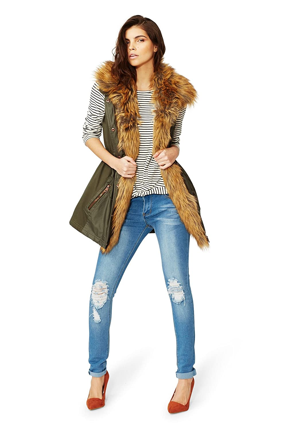 Minetom/® Women Faux Fur Vest Gilet Waistcoat Synthetic Fox Wool Jacket Outwear Gilet