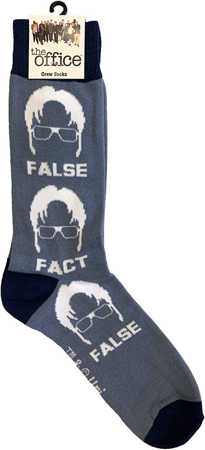 NBC's The Office Fact False Dwight Novelty Men's Crew Polyester and Cotton Socks One Size Fits Most (Blue and White)