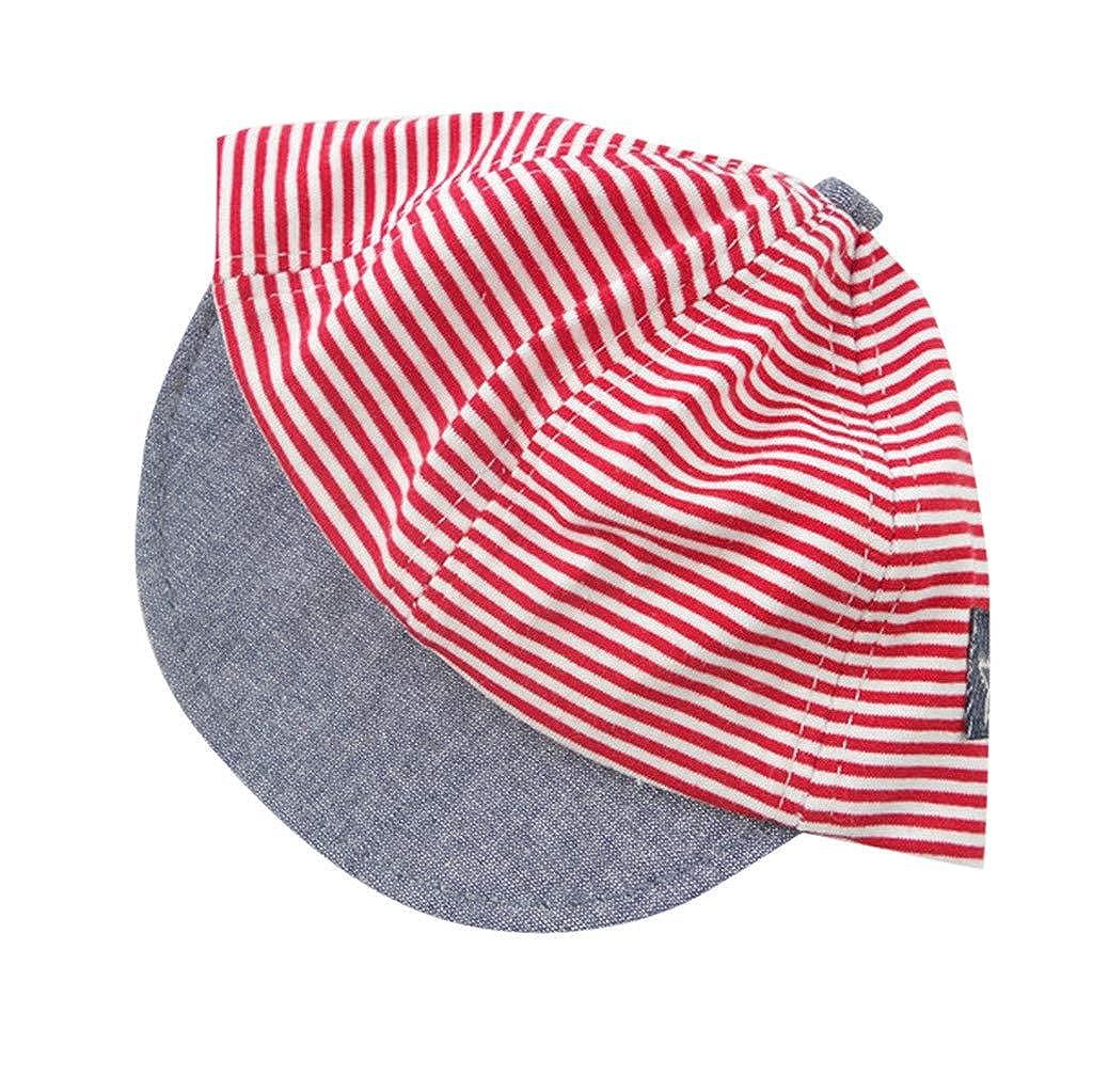 UCQueen Baseball Cap Baby Fashion Letter Soft Eaves Sports Sun Kid Unisex Hat Sun Beret Hat Striped