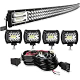 TURBO SII Led Light Bar 30/32Inch 441W Curved Triple Row Offroad Led Bar Waterproof 44100LM Spot Flood Combo + 4Pcs 4 Inch Le