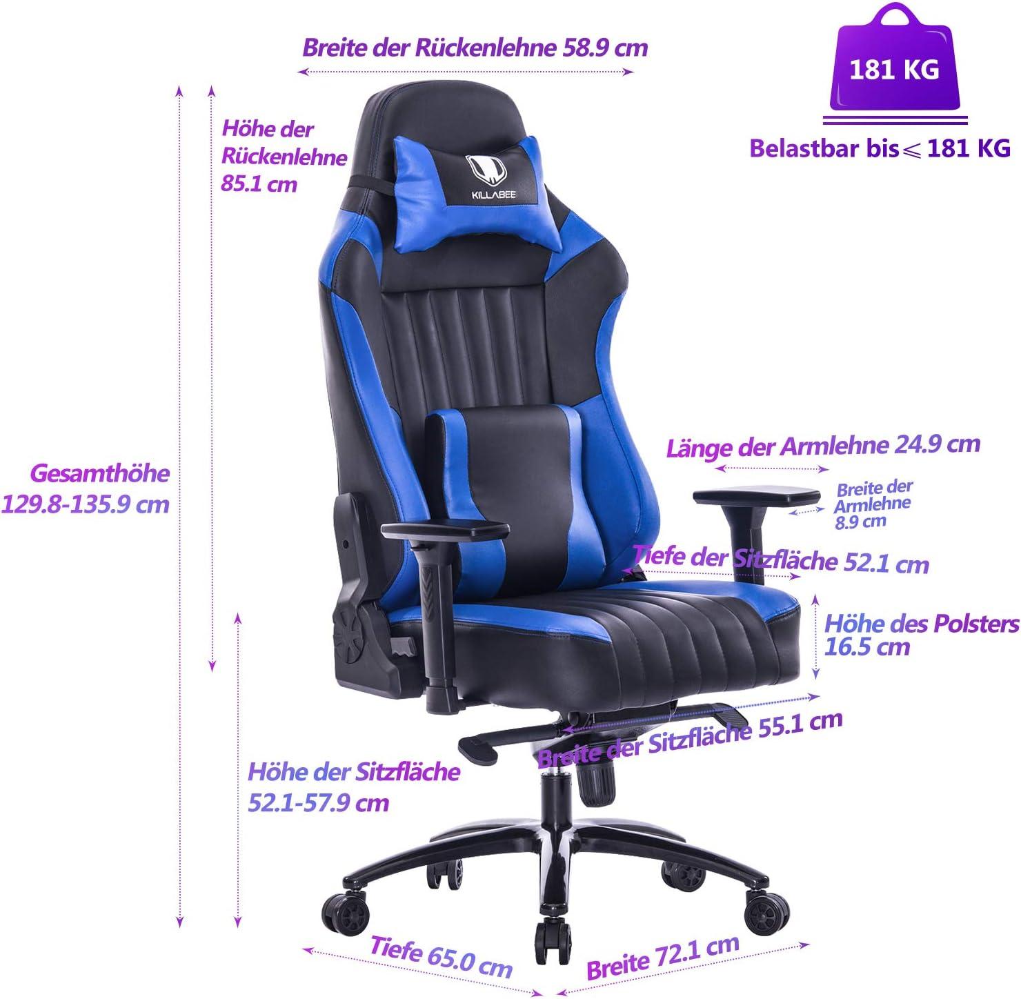 KILLABEE gro/ßer Memory Foam Gaming Stuhl Verstellbarer Neigungswinkel R/ückenwinkel und 3D-Arme Ergonomische hohe R/ückenlehne aus Leder Exklusiver Computer-Schreibtisch B/ürostuhl mit Metallsockel