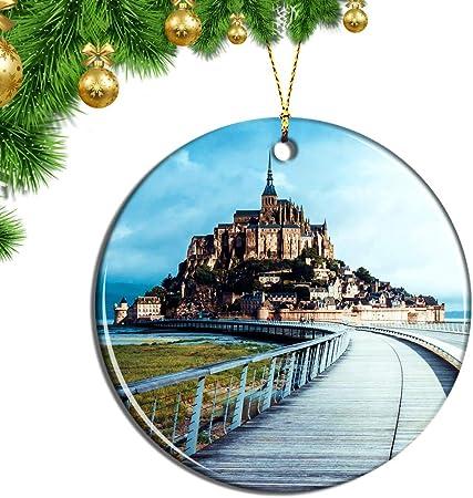 Francia Mont Saint-Michel_ 副 adornos navideños,Material: lámina de cerámica. Tamaño: 7.2cm * 7.2cm *