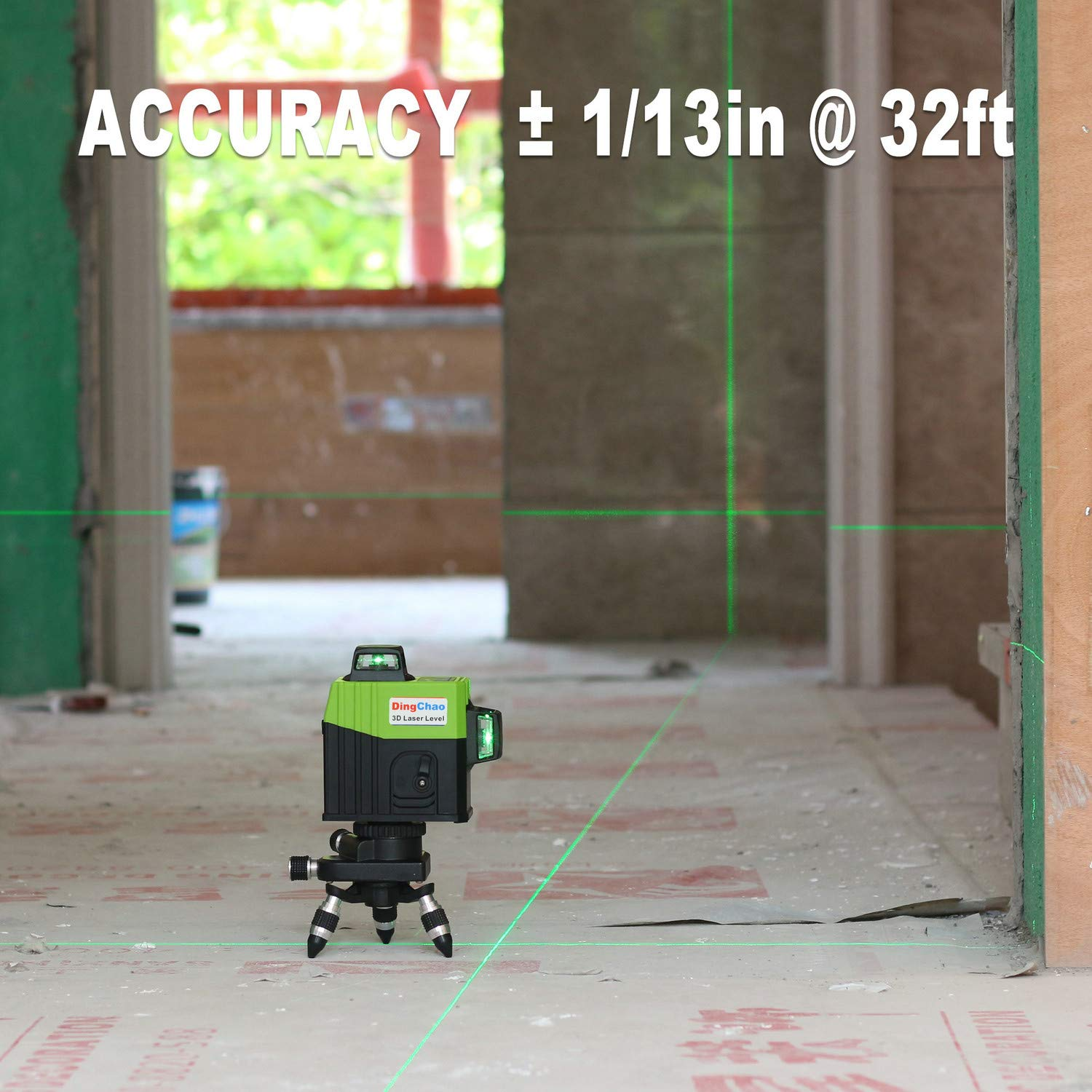 Dingchao Self-Leveling Three-Plane 3 x 360 Green Line Laser Level,with Micro-Adjust / 360 Degree Pivoting Base, Hard Carrying Case,Power Plug Adapter,Multi-functional Laser Leveler Layout Laser Tools by DINGCHAO (Image #8)