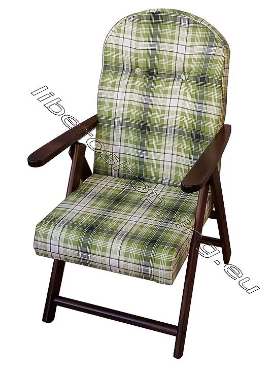 Poltrona Sedia Sdraio Amalfi.Poltrona Sedia Sdraio Amalfi Colore Verde In Legno Reclinabile 4