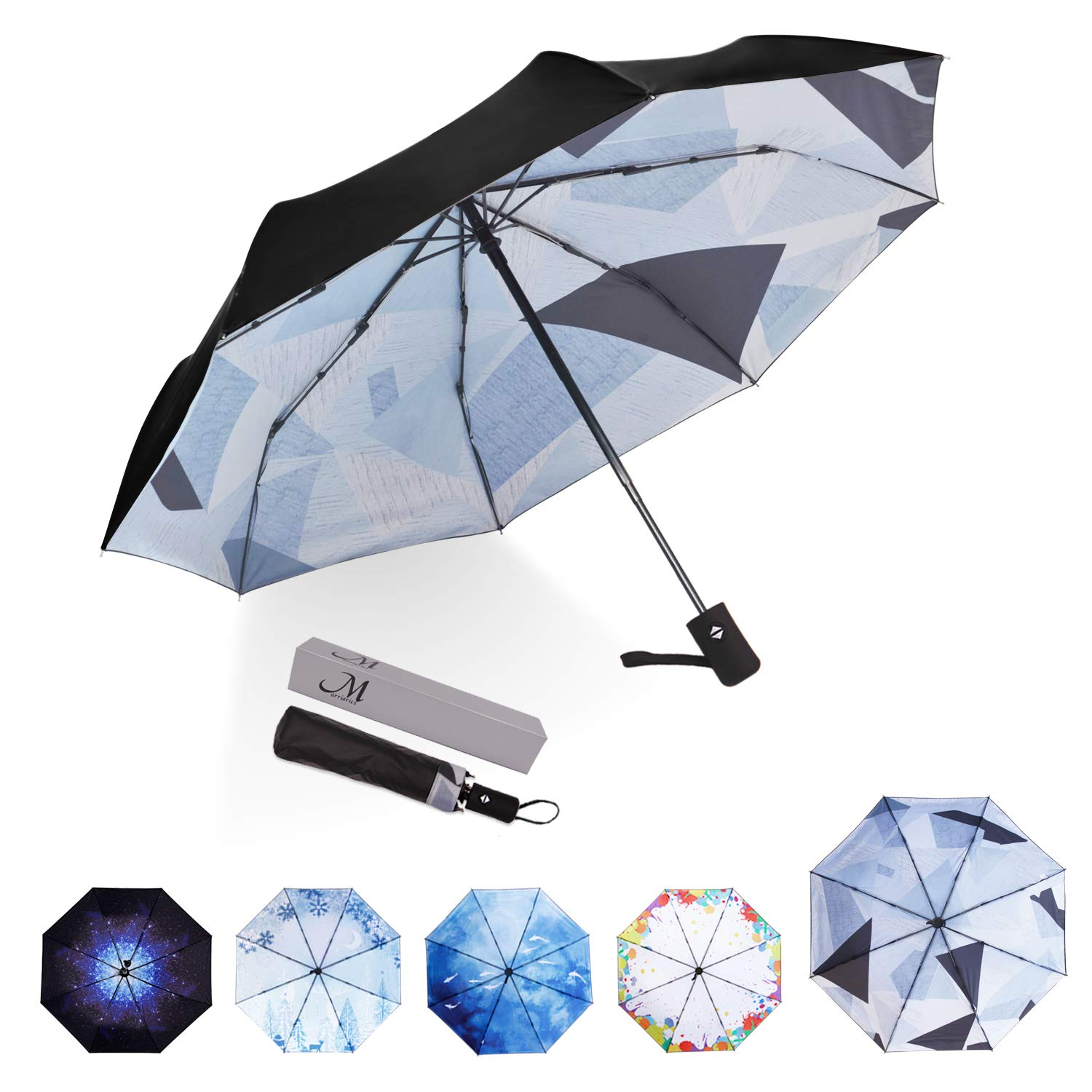 1ba855e0376e6 Amazon.com: Marriarics Travel Umbrella Windproof, Black Glue Anti UV  Coating, Compact Folding Umbrellas for Women Men, Auto Open Close (Spliced  Triangle): ...