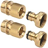 2Sets of Male and Female ? Inch Garden Hose End and Faucet Quick Connector Set