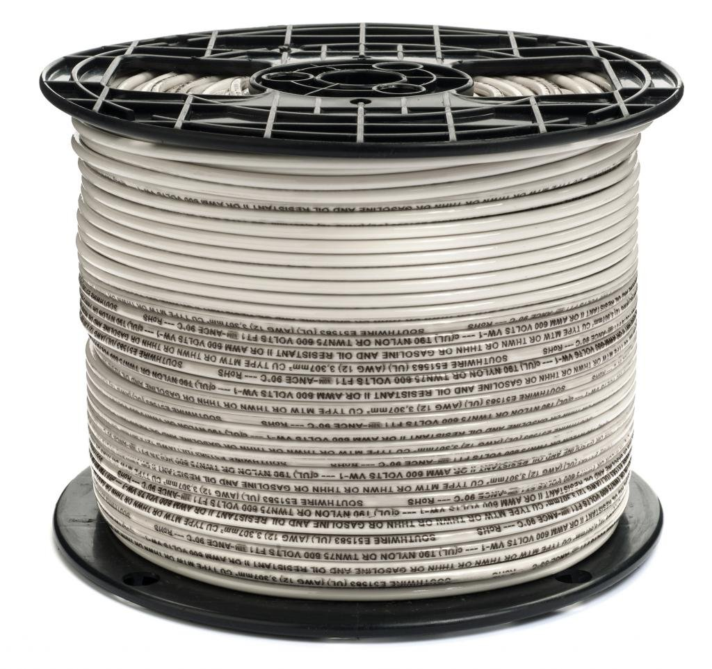 12 AWG Stranded THHN White Wire - 500 Feet - 600 Volt 90C - Made in USA!