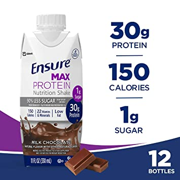 Ensure Max Protein Nutrition Shake with 30 g of protein, 1 g of sugar,