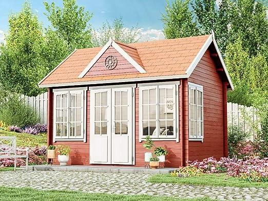 Caseta para jardín de Alpholz Carolina-28, casa de madera con 5 ventanas, para montar, resistente al invierno, Weiß: Amazon.es: Jardín