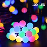 Vmanoo Globe Battery Operated Timer String Lights 100 LED Ball Fairy Christmas Lighting Decor For Outdoor, Indoor, Garden, Patio, Bedroom Wedding Decorations (Multi Color)
