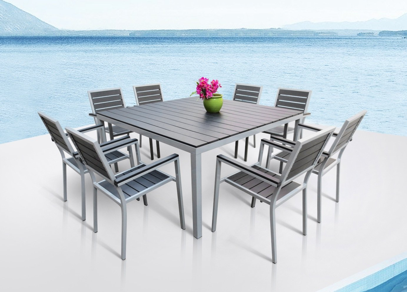 Amazon.com : Outdoor Patio Furniture New Aluminum Resin 9 Piece Square  Dining Table U0026 Chairs Set : Patio, Lawn U0026 Garden