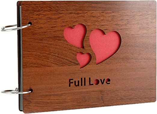 Camilla Baby DIY Scrapbook Photo Album Memory Picture Handmade Book with Wood Cover Craft Black Page Scrapbooking for Family Baby Graduation Wedding Anniversary-Full Love