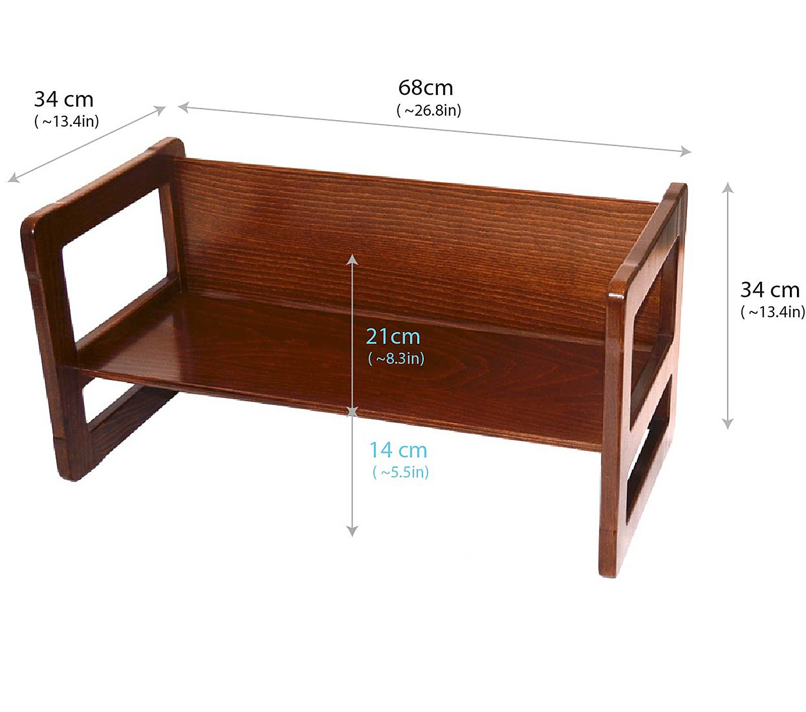 3 in 1 Childrens Multifunctional Furniture Set of 4, Two Small Chairs or Tables and One Small Bench or Table and One Large Bench or Table Beech Wood, Dark Stained by Obique Ltd (Image #4)