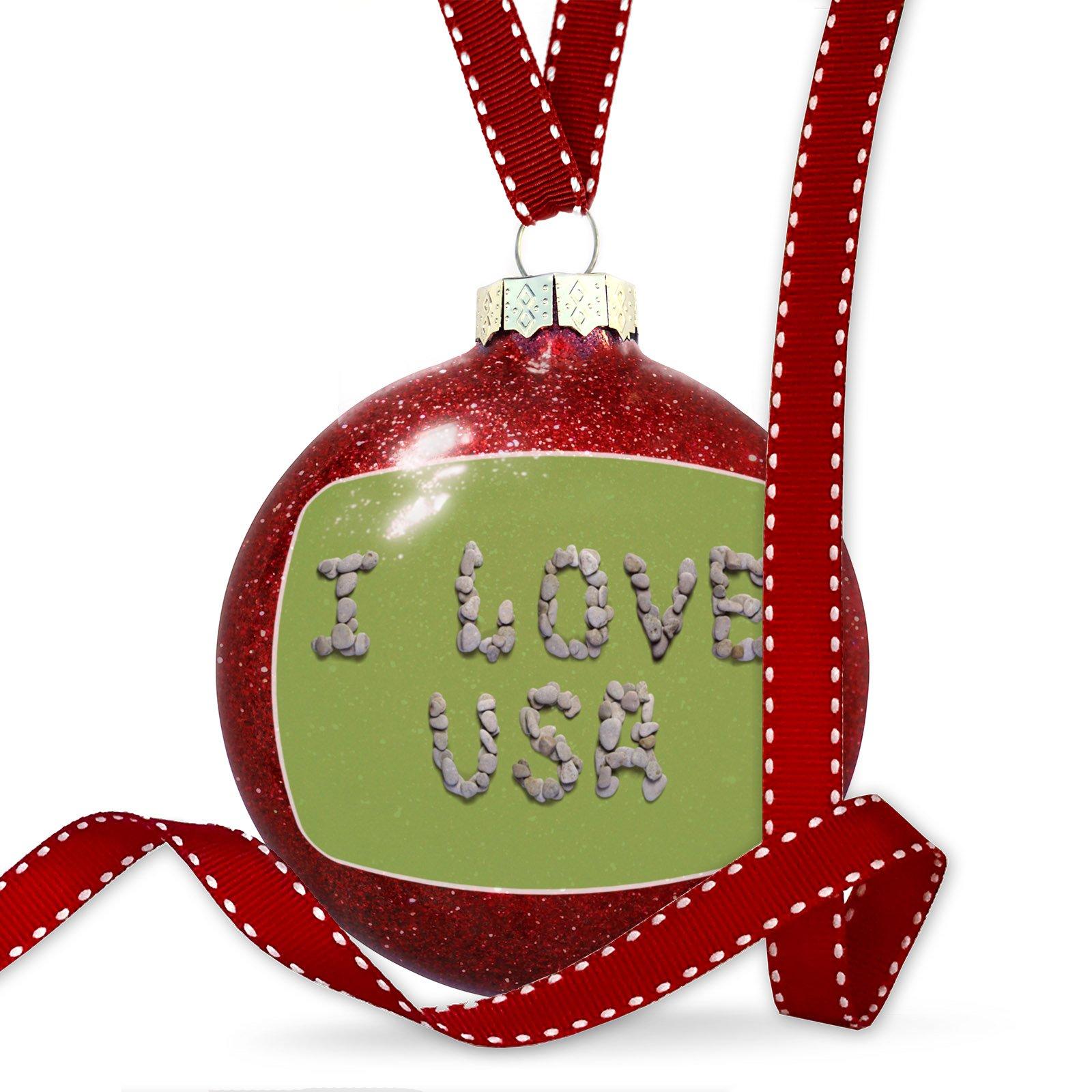 Christmas Decoration I Love Usa Spa Stones Rocks Ornament