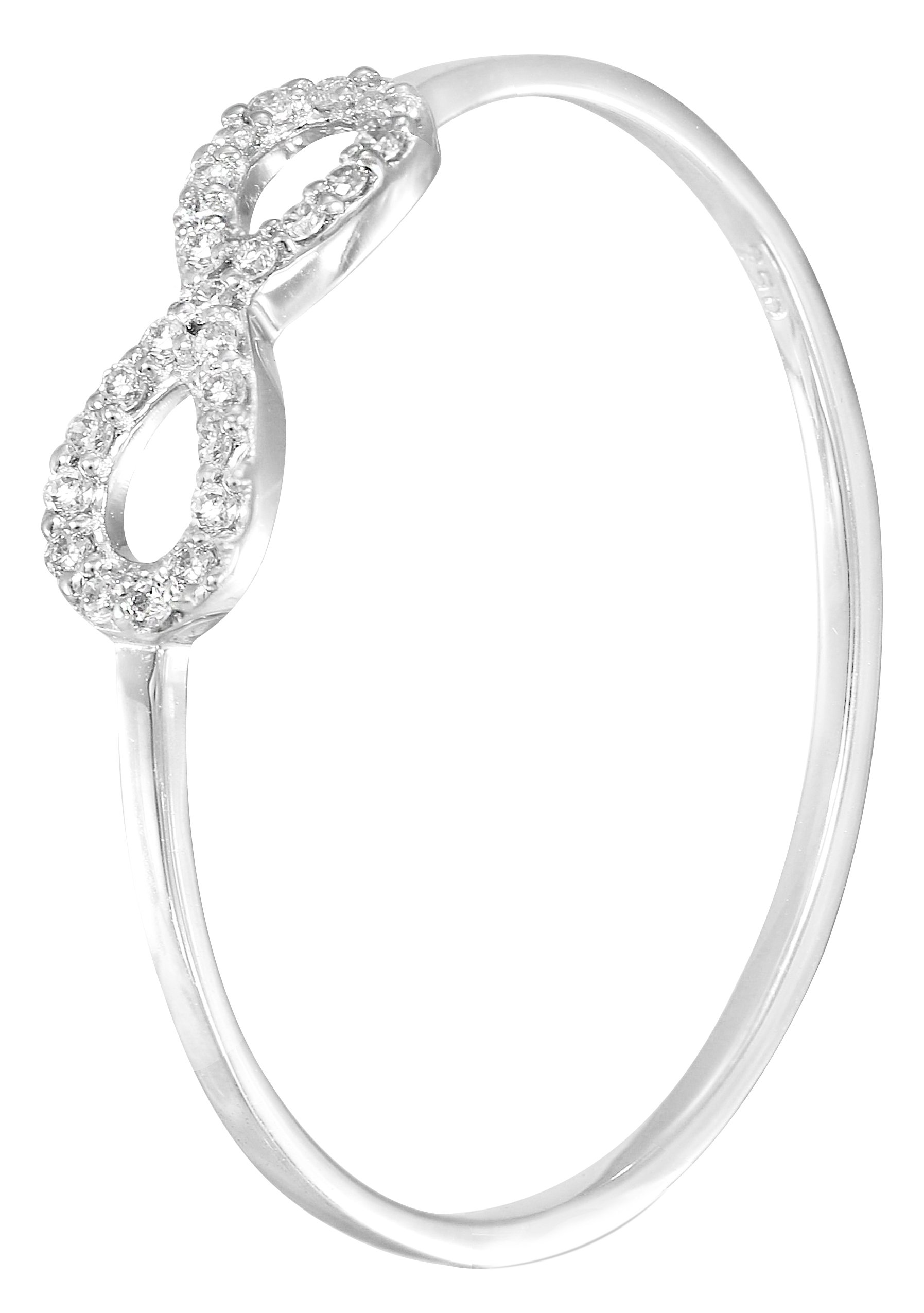 10k White Gold Natural Diamond Infinity Dainty Anniversary Ring (0.06 cttw, G-H Color) (Size 7)