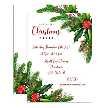 Amazon Com Watercolor Holly Pine Custom Personalized Holiday