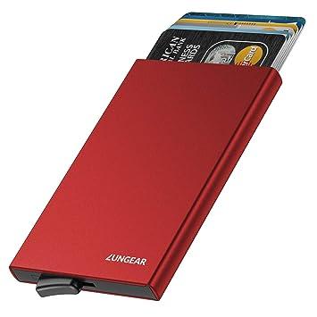 LUNGEAR Tarjetero para Tarjeta de Crédito de Aluminio RFID Bloqueo,Slim Metalico Cartera con Automática Pop Up Design & 4-6 Ranuras para Tarjetas para ...