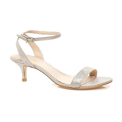 acd0687b0b77 Pelle Moda Women s Fabia 2 Silver Metallic Kid Suede Sandal 5.5 M