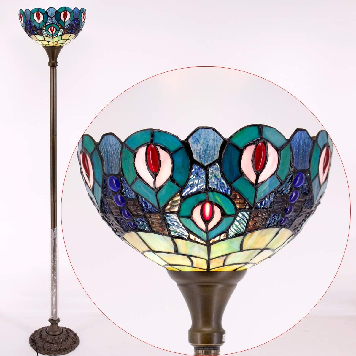 Tiffany Lamps Stained Glass Lotus Flower Table Desk Reading Lamp with Flexible Arm, W7.5 H21 Inch for Living Room Bedroom Bookcase Dresser Coffee Table Beside Reading