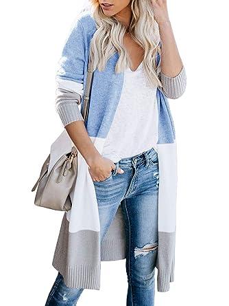 9a0e1da9c Womens Open Front Long Sweater Cardigans Boho Long Sleeve Color Block Knit  Lightweight Kimono Duster Coats