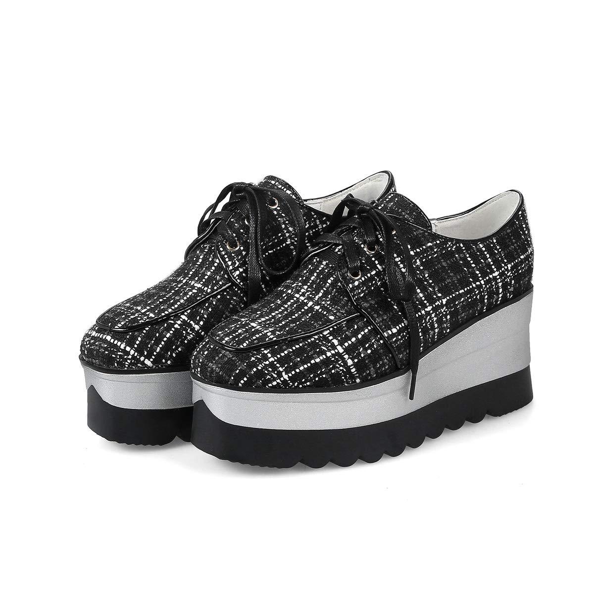 DANDANJIE Damen Kausal Schuhe Gestreifte Gitter Schuhe Frühling Lace Up Bow Keilabsatz Schuhe
