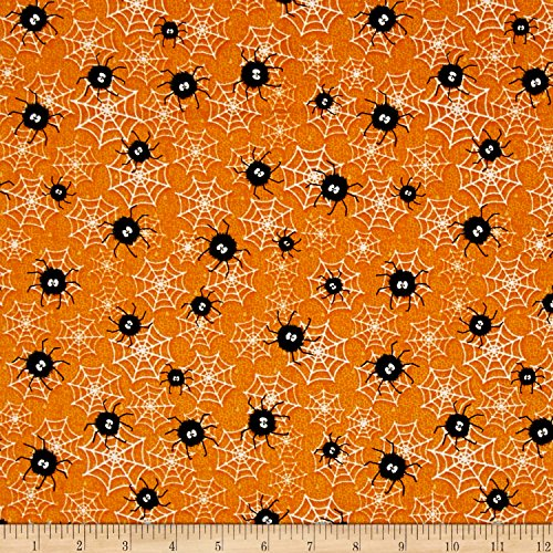 Henry Glass Chills and Thrills Spiders and Webs Glow in The Dark Orange Fabric by The Yard