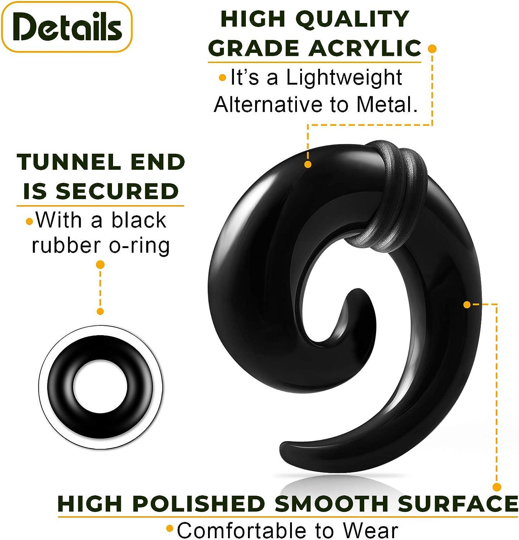 Pair of Black Solid Acrylic wBlack Rubber O/' Rings Fake Faux Plug Earrings Body Piercing Jewelry