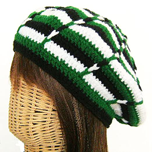 2006b86659a Image Unavailable. Image not available for. Color  Rasta Tam Hat Hippy Beanie  Beret Handmade Crochet ...