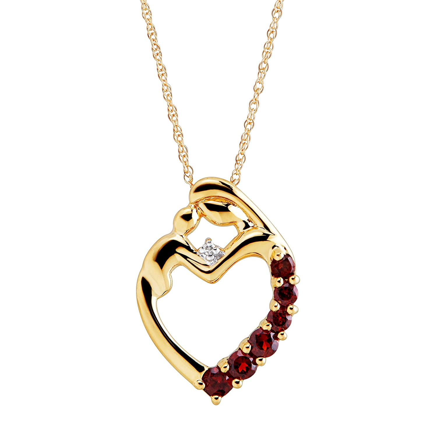 3/8 ct Natural Garnet Mother & Child Pendant Necklace with Diamond in 14K Gold
