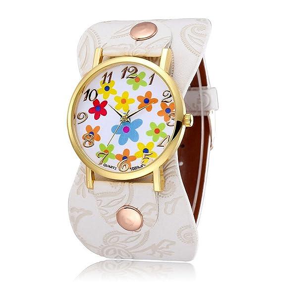 Para mujer de flores relojes, Cooki Unique analógico Fashion limpieza Lady relojes relojes para mujeres