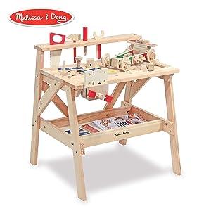 Melissa & Doug Wooden Project Solid Wood Workbench, Pretend Play, Sturdy Wooden Construction, Storage Shelf, 26″ H × 18.75″ W x 24″ L