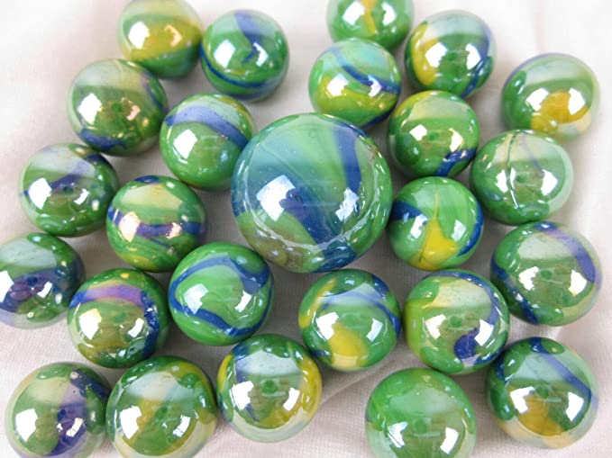 25 CLEAR BOTTLE GREEN GLASS MARBLES 16mm timeless traditional toy//game art