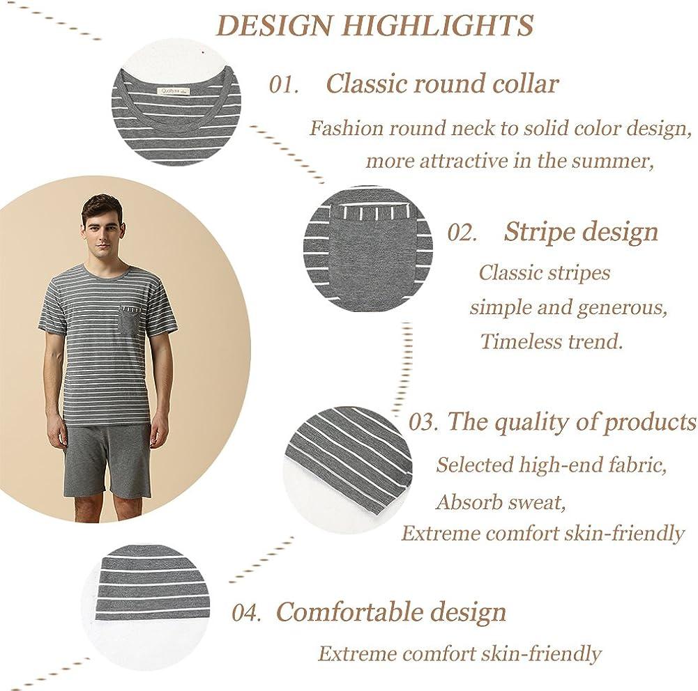 Skine Schlafanz/üge Damen Sommer Modal Solid Nachtw/äsche Kurz Set Soft V-Ausschnitt Sleepwear Kurzarm Top mit Shorts Pyjama Set