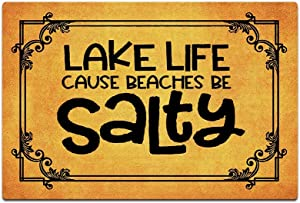 Funny Front Door Mat Lake Life Doormat Lake House Decor Cabin Funny Doormat for Outdoor/Indoor Uses, Low-Profile Rug Mats for Entry 23.6