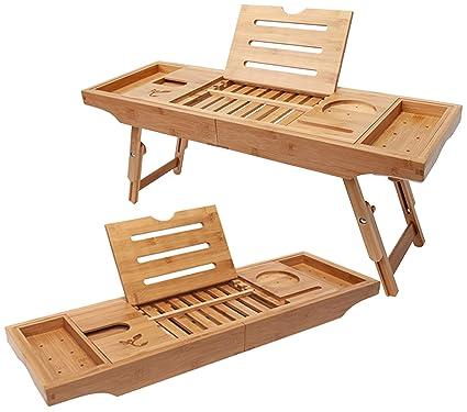 Amazon.com: Bamboo Bathtub Tray & Bed Laptop Desk with Foldable Legs ...
