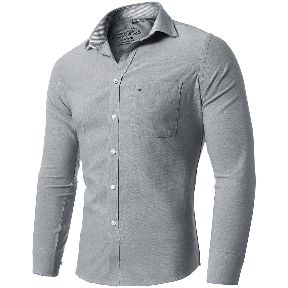 Mens shirts Anti-wrinkle Oxford Textile dress shirts Casual/&Slim Business shirts FLYHAWK