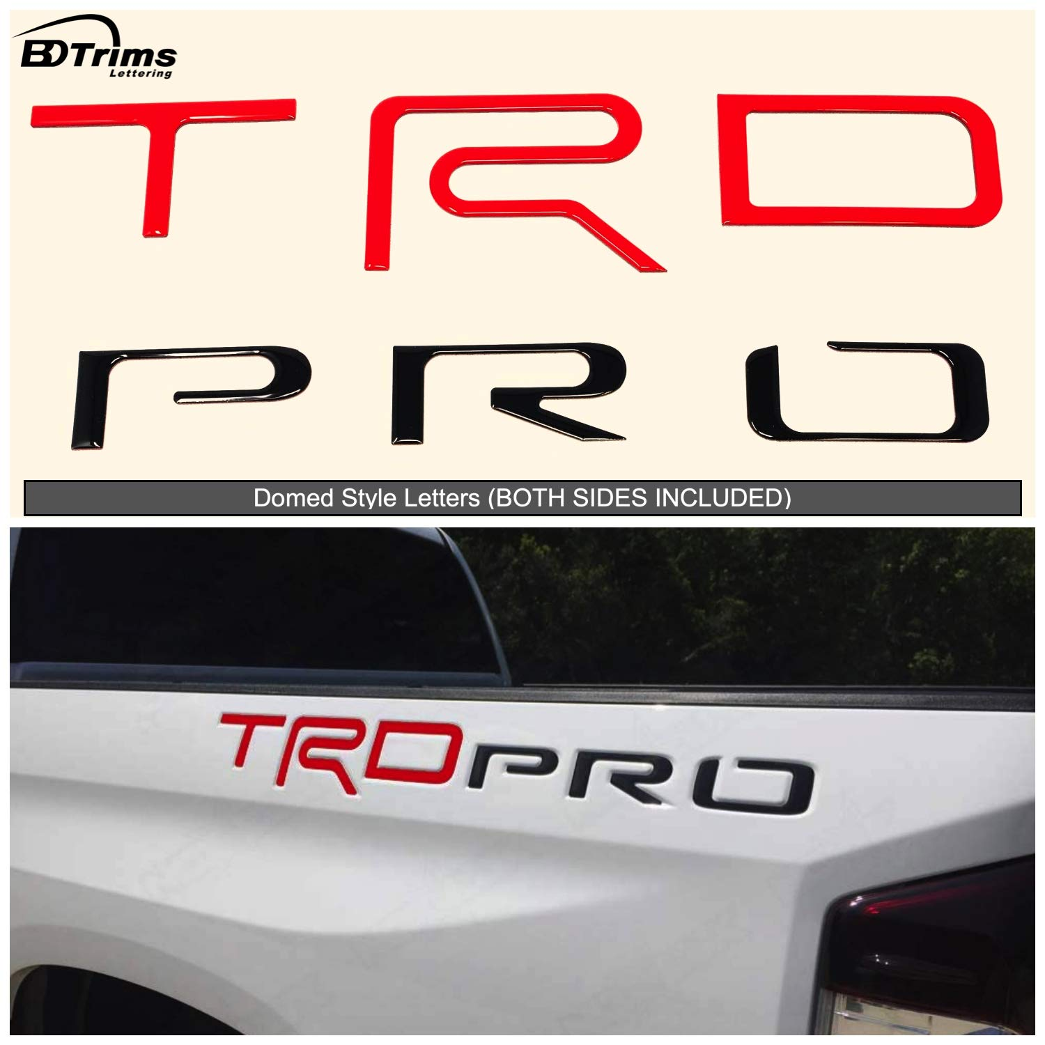 Overlay Badges LimitlessParts RED and Black Bedside Letters fits TRD RPO Tund-ra 2014-2021 Bedside Left+Right ABS Plastic Letter Inserts RED and Black NOT Vinyl Pro Custom Accessory Logo