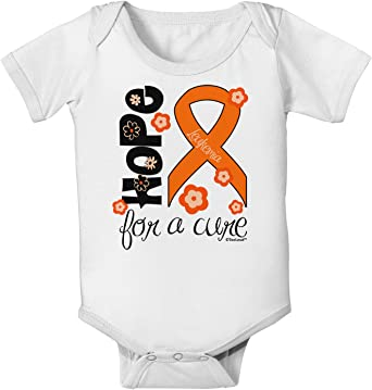 TooLoud Hope for a Cure Flowers Toddler T-Shirt Orange Ribbon Leukemia