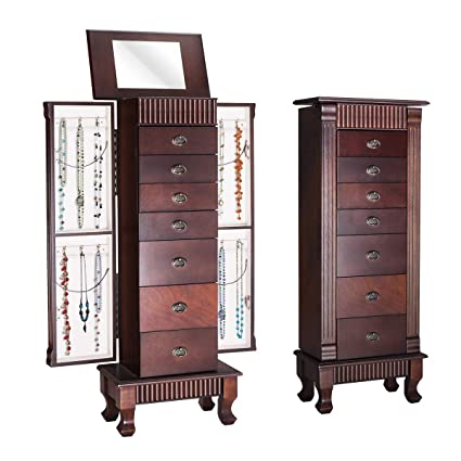 Amazon Com Giantex Jewelry Armoire Chest Cabinet Organizer Wood