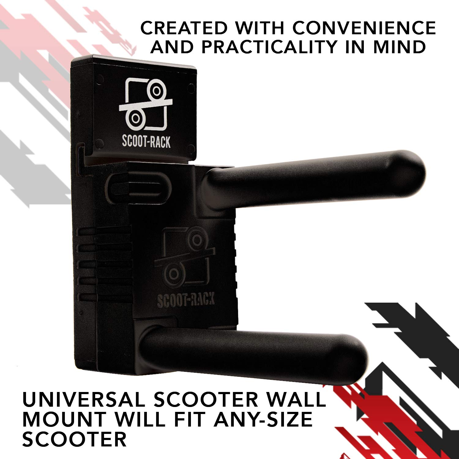 Storage Solution for Freestyle Scooters Scooter Rack for Kids Scooters Pro Scooter Rack Wall Mount Fits 2 /& 3 Wheeled Scooters Universal Wall Mount for Stunt Scooters Setups of Any Size