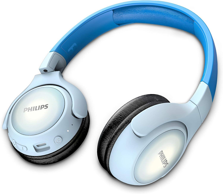 Philips Kinderkopfh/örer KH402BL//00 Wireless On Ear Kopfh/örer Bluetooth, 85 db, 20 Stunden Spielzeit, LED Panel, weiche Ohrpolster Blau